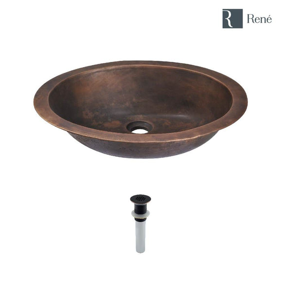 Rene R7-4001-GD-ABR Single Bowl Bronze Bathroom Sink with Antique Bronze Grid Drain