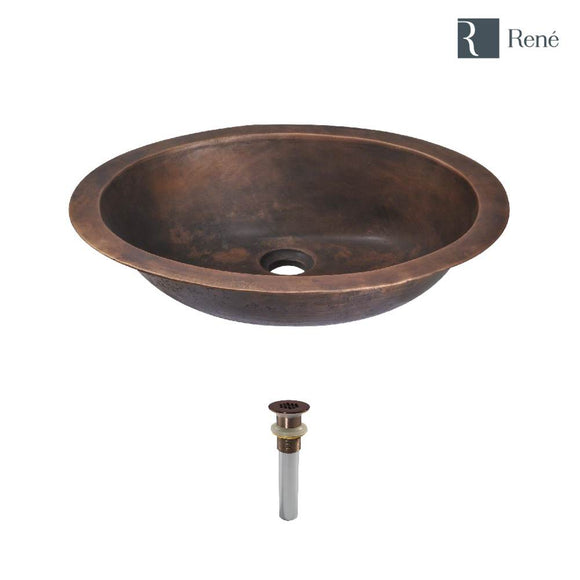 Rene R7-4001-GD-ORB Single Bowl Bronze Bathroom Sink with Oil Rubbed Bronze Grid Drain