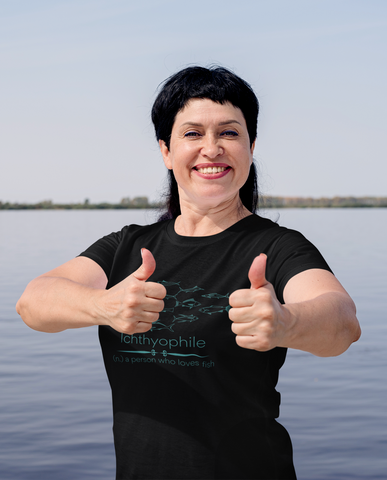 this woman loves fish - she is an ichthyophile