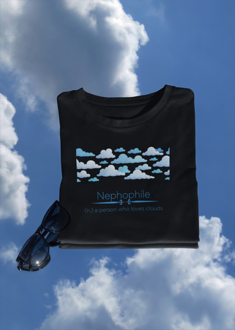 nephophile - a person who loves clouds t-shirt floating in the clouds