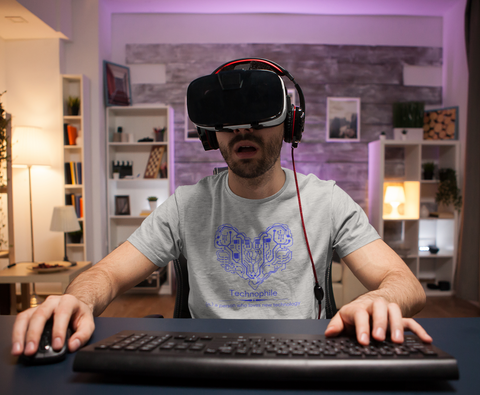a technophile playing vr games - a person who loves technology