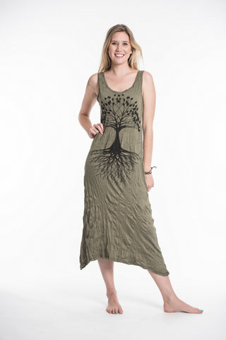Sure Design Womens Tree Of Life Scoop Neck Tank Dress Green