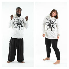 Plus Size Sure Design Unisex Octopus Hoodie White