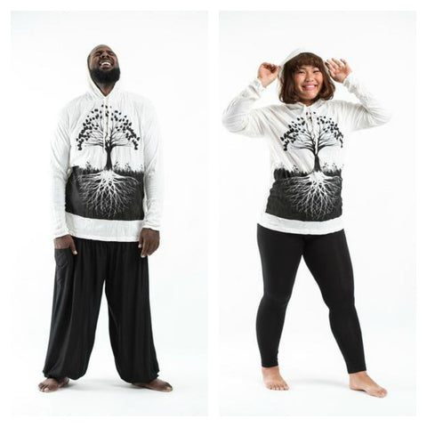 Plus Size Sure Design Unisex Tree of Life Hoodie White