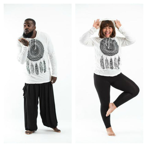 Plus Size Sure Design Unisex Dreamcatcher Hoodie White