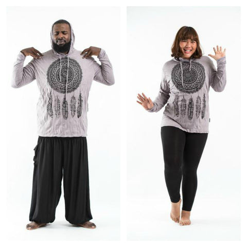 Plus Size Sure Design Unisex Dreamcatcher Hoodie Gray