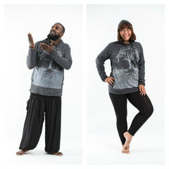 Plus Size Sure Design Unisex Tree of Life Hoodie Silver on Black