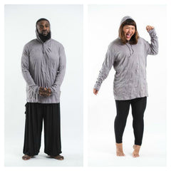 Plus Size Sure Design Unisex Blank Hoodie Gray