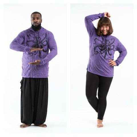 Plus Size Sure Design Unisex Octopus Hoodie Purple