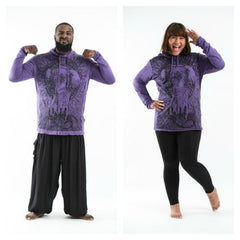 Plus Size Sure Design Unisex Wild Elephant Hoodie Purple