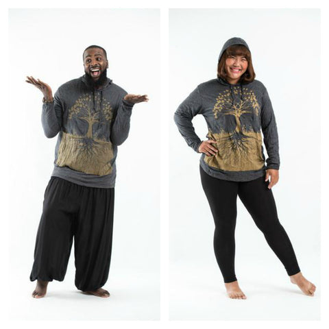Plus Size Sure Design Unisex Tree of Life Hoodie Gold on Black