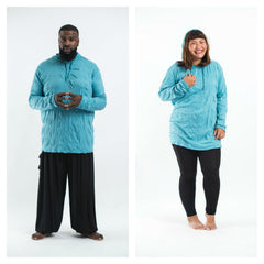 Plus Size Sure Design Unisex Blank Hoodie Turquoise