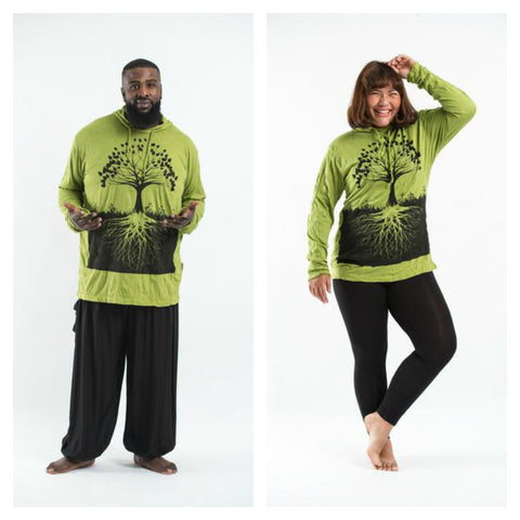 Plus Size Sure Design Unisex Tree of Life Hoodie Lime