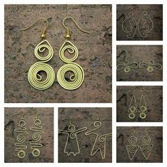 Assorted set of 10 Thailand Hill Tribe Hand Made Brass Dangle Earrings