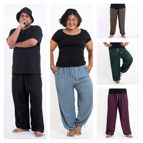 Assorted set of 5 Unisex Plus Size Solid Color Drawstring Yoga Massage Pants