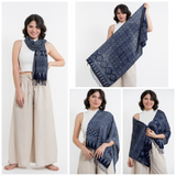 Wholesale Assorted set of 10 Hmong Indigo Batik Shawl Scarf - $115.00