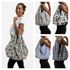 Assorted set of 5 Indigo Print Cotton Hobo Bag