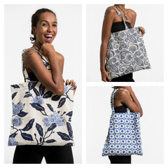 Assorted set of 3 Indigo Print Cotton Tote Bag