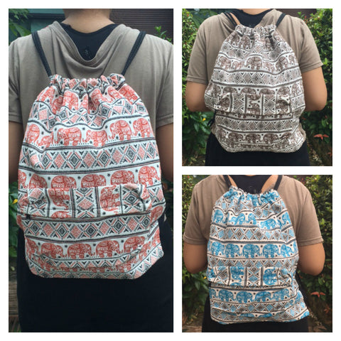 Assorted 3 Piece Elephant Drawstring Cotton Canvas Backpack