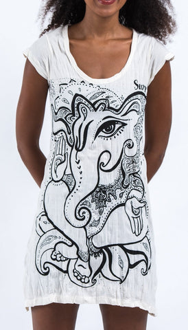 Sure Design Women's Cute Ganesha Dress White