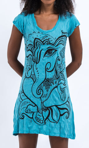 Sure Design Women's Cute Ganesha Dress Turquoise