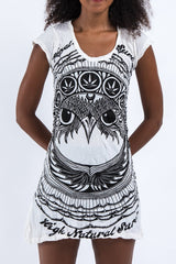 Sure Design Women's Weed Owl Dress White