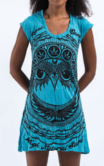 Sure Design Women's Weed Owl Dress Turquoise