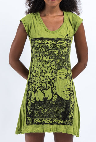 Sure Design Women's Sanskrit Buddha Dress Lime