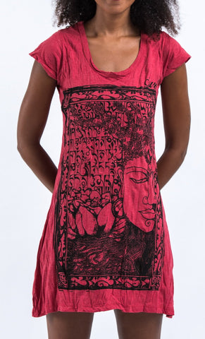 Sure Design Women's Sanskrit Buddha Dress Red