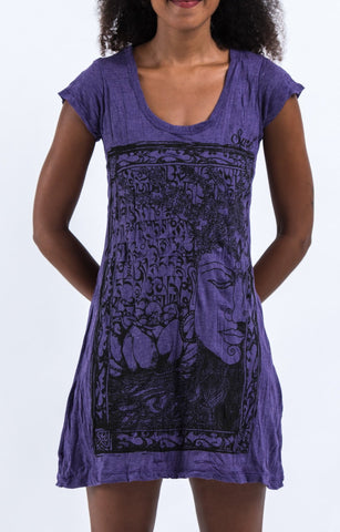 Sure Design Women's Sanskrit Buddha Dress Purple