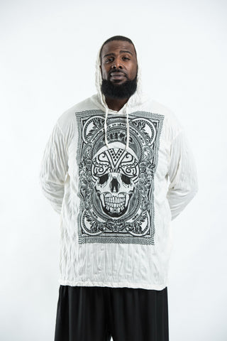 Plus Size Sure Design Unisex Trippy Skull Hoodie White