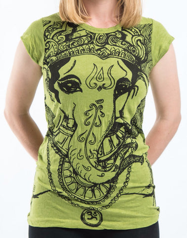 Sure Design Women's Big Face Ganesh T-Shirt Lime