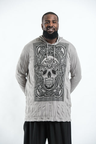 Plus Size Sure Design Unisex Trippy Skull Hoodie Gray