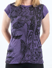 Sure Design Women's Butterfly Buddha T-Shirt Purple