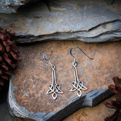 Sterling Silver Thai  Dangle Earrings Celtic Trinity Drop