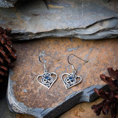 Sterling Silver Thai  Dangle Earrings Hearts With Sapphire CZ