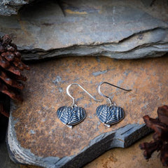 Sterling Silver Thai  Earrings Heart Feathers