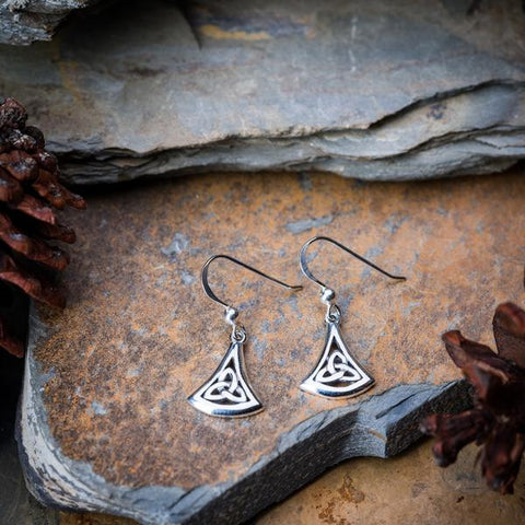 Sterling Silver Thai  Dangle Earrings Trinity Drop