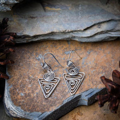 Sterling Silver Thai  Earrings Triangle Swirl