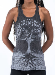 Sure Design Women's Tree of Life Tank Top Silver on Black