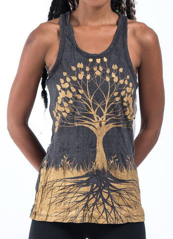 Sure Design Women's Tree of Life Tank Top Gold on Black