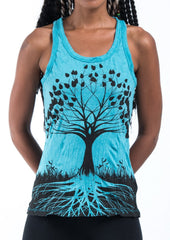 Sure Design Women's Tree of Life Tank Top Turquoise