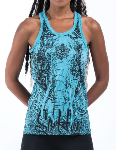 Sure Design Women's Wild Elephant Tank Top Turquoise