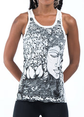 Sure Design Women's Sanskrit Buddha Tank Top White