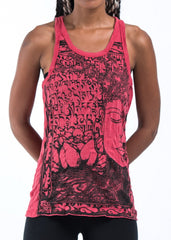 Sure Design Women's Sanskrit Buddha Tank Top Red