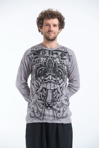 Sure Design Unisex Bali Mask Long Sleeve Shirts Grey