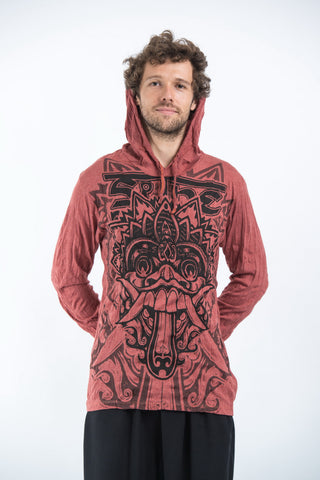 Sure Design Unisex Bali Mask Hoodie Brick