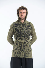 Sure Design Unisex Bali Mask Hoodie Green