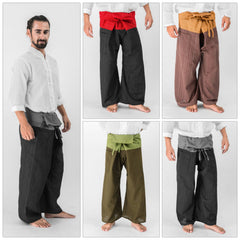 Assorted set of 5 Unisex 2-Tone Pin Stripes Thai Fisherman Pants