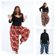 Assorted set of 5 Plus Size Skulls Thai High Crotch Harem Pants